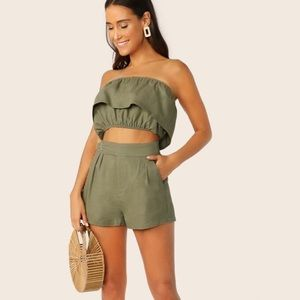 Ruffle tube top and short co-ord set